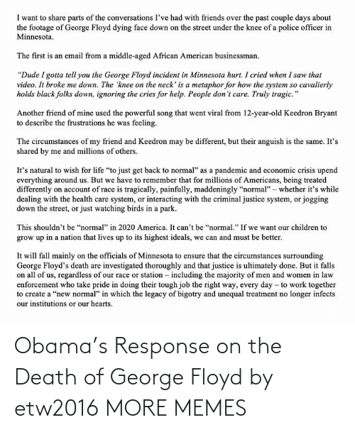 Response: Obama's Response on the Death of George Floyd by etw2016 MORE MEMES