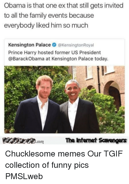 Collection Of Funny: Obama is that one ex that still gets invited  to all the family events because  everybody liked him so much  Kensington Palace@KensingtonRoyal  Prince Harry hosted former US President  @BarackObama at Kensington Palace today  Finsire.comThe ntemet Savengers <p>Chucklesome memes  Our TGIF collection of funny pics  PMSLweb </p>