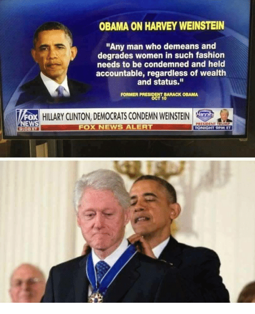 """Fashion, Hillary Clinton, and News: OBAMA ON HARVEY WEINSTEIN  """"Any man who demeans and  degrades women in such fashion  needs to be condemned and held  accountable, regardless of wealth  and status.""""  FORMER PRESIDENT BARACK OBAMA  OCT 10  FOX  NEWS  HILLARY CLINTON, DEMOCRATS CONDEMN WEINSTEIN  FOX NEWS ALER  PRESIDENT TRUMP  TONIGHT 9PM ET"""