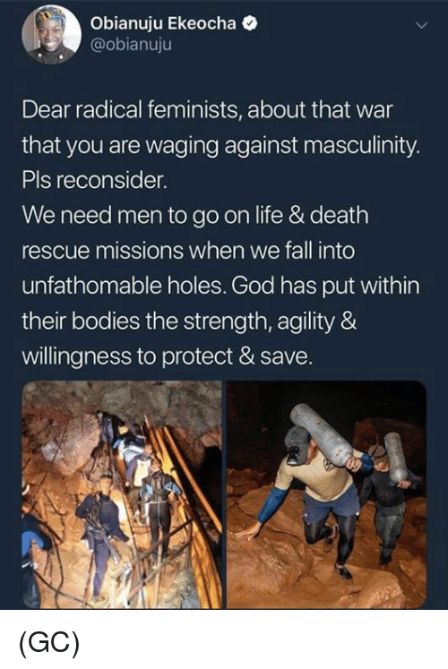 Bodies , Fall, and God: Obianuju Ekeocha  @obianuju  Dear radical feminists, about that war  that you are waging against masculinity.  Pls reconsider.  We need men to go on life & death  rescue missions when we fall into  unfathomable holes. God has put within  their bodies the strength, agility &  willingness to protect & save. (GC)