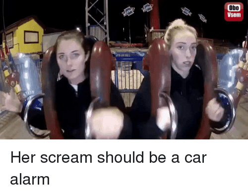 Funny, Scream, and Alarm: Obo  Vsem Her scream should be a car alarm