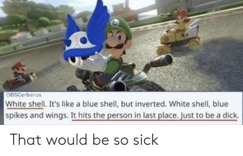 Blue, Dick, and White: OBSCerberus  White shell. It's like a blue shell, but inverted. White shell, blue  spikes and wings. It hits the person in last place. Just to be a dick. That would be so sick