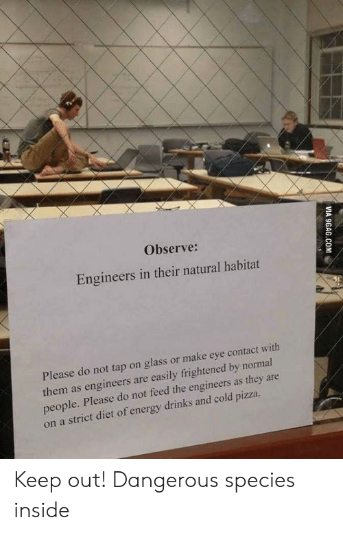 9gag, Energy, and Pizza: Observe:  Engineers in their natural habitat  Please do not tap on glass or make eye contact with  them as engineers are easily frightened by normal  people. Please do not feed the engineers as they are  on a strict diet of energy drinks and cold pizza.  VIA 9GAG.COM Keep out! Dangerous species inside
