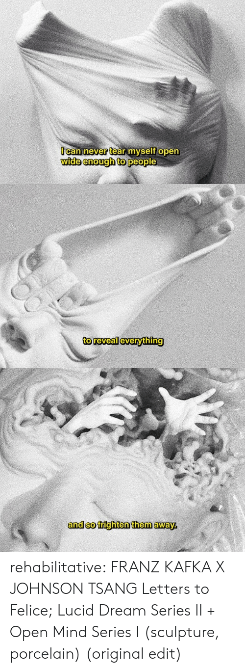 Reveal: Ocan never tear myself open  wide enough to people   to reveal everything   and so frighten them away rehabilitative:  FRANZ KAFKA X JOHNSON TSANG  Letters to Felice;  Lucid Dream Series II + Open Mind Series I (sculpture, porcelain)  (original edit)