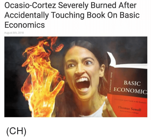 economic: Ocasio-Cortez Severely Burned After  Accidentally Touching Book On Basic  Economics  August 8th, 2018  BASIC  ECONOMIC  Thomas Sowell (CH)