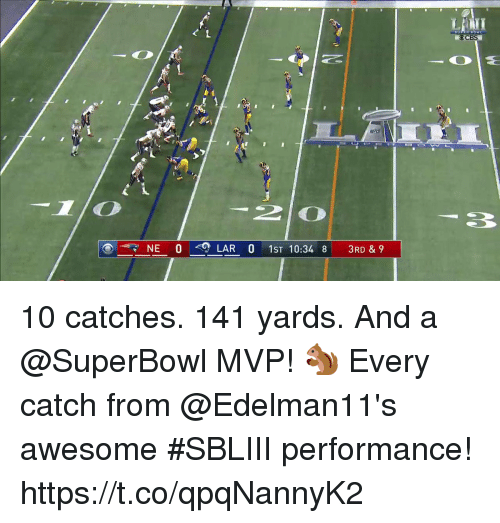 Memes, Superbowl, and Awesome: OCBS  2 0  NE 0 <0 LARO 1ST 10:348  3RD & 9 10 catches. 141 yards. And a @SuperBowl MVP! 🐿   Every catch from @Edelman11's awesome #SBLIII performance! https://t.co/qpqNannyK2