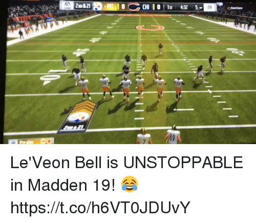 Football, Nfl, and Sports: OCHI s 4325  89 Le'Veon Bell is UNSTOPPABLE in Madden 19! 😂 https://t.co/h6VT0JDUvY