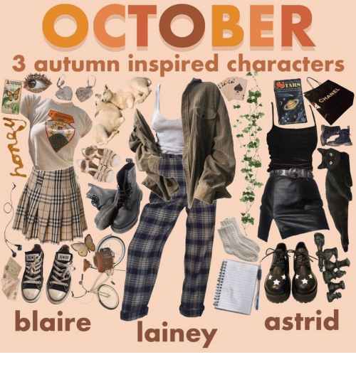 Chanel: OCTOBER  3 autumen ientpired characters  TARS  CHANEL  ALL  A  blaire  lainey  astrid