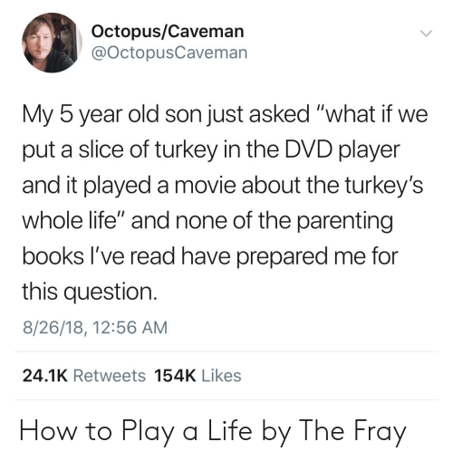 """fray: Octopus/Cavemarn  @OctopusCaveman  My 5 year old son just asked """"what if we  put a slice of turkey in the DVD player  and it played a movie about the turkey's  whole life"""" and none of the parenting  books l've read have prepared me for  this question.  8/26/18, 12:56 AM  24.1K Retweets 154K Likes How to Play a Life by The Fray"""