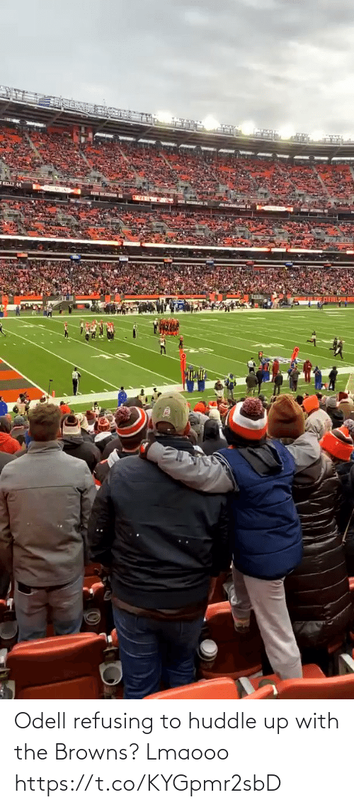 Football, Nfl, and Sports: Odell refusing to huddle up with the Browns? Lmaooo https://t.co/KYGpmr2sbD