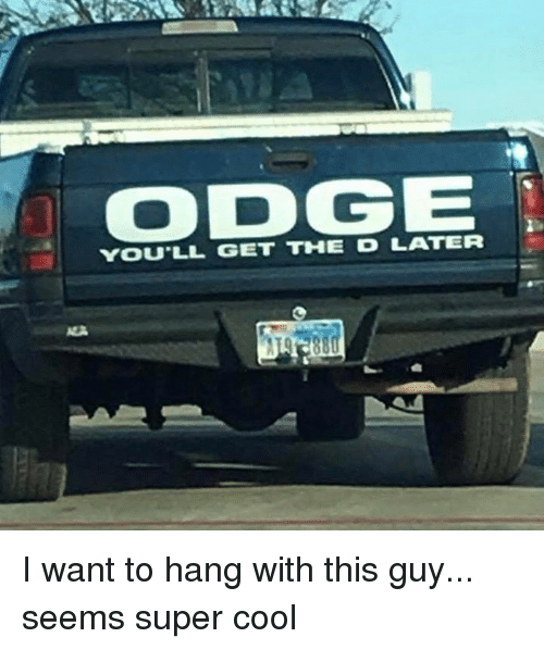 Dank, Cool, and 🤖: ODGE  YOU'LL GET THE DLATER I want to hang with this guy... seems super cool