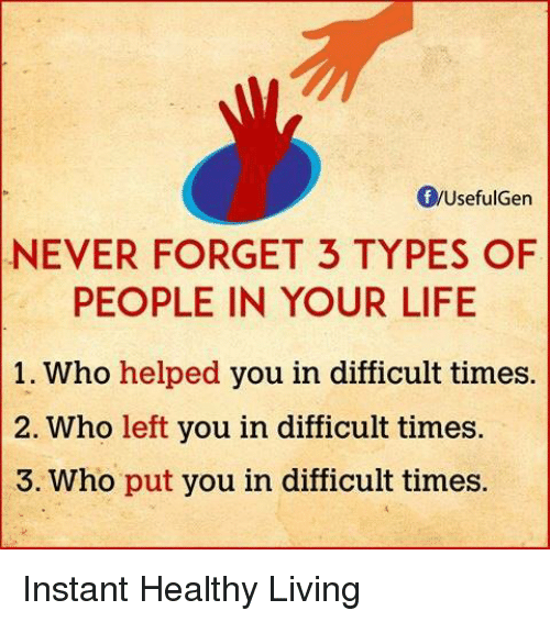 Memes, 🤖, and Never Forget: Of WUsefulGen  NEVER FORGET 3 TYPES OF  PEOPLE IN YOUR LIFE  1. Who helped you in difficult times.  2. Who left you in difficult times.  S. Who put you in difficult times. Instant Healthy Living