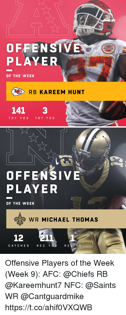Memes, New Orleans Saints, and Chiefs: OFFENSIV  PLAYER  OF THE WEEK  RB KAREEM HUNT  141 3  TOT YDSTOT TDS   OFFENSIVE  PLAYER  OF THE WEEK  WR MICHAEL THOMAS  12 211  CATCHES  R E C Y D S  R E  C T D Offensive Players of the Week (Week 9):  AFC: @Chiefs RB @Kareemhunt7  NFC: @Saints WR @Cantguardmike https://t.co/ahif0VXQWB