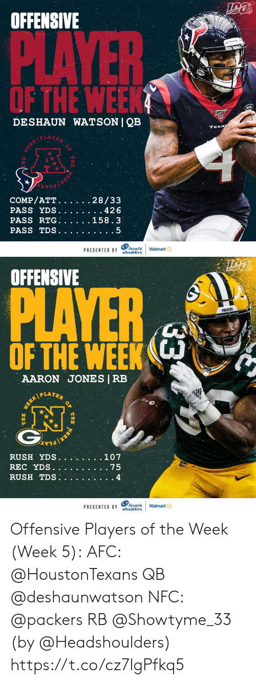 Head, Memes, and Nfl: OFFENSIVE  NFL  PLAYER  OF THE WEEK  RCN  DESHAUN WATSON | QB  TEXA  WEEKPLAYER  COMP/ATT.  PASS YDS.  PASS RTG  PASS TDS  28/33  . 426  158.3  head&  PRESENTED BY Shoulders  Walmart  WEEK  THE  E   OFFENSIVE  PLAYER  PACKERS  OF THE WEEK  AARON JONES | RB  PLAYER  .107  RUSH YDS.  REC YDS  RUSH TDS.  . 75  4  head&  PRESENTED BY shoulders  Walmart  33  OF  THE  WERK  WEEK/  THE Offensive Players of the Week (Week 5):  AFC: @HoustonTexans QB @deshaunwatson  NFC: @packers RB @Showtyme_33   (by @Headshoulders) https://t.co/cz7lgPfkq5