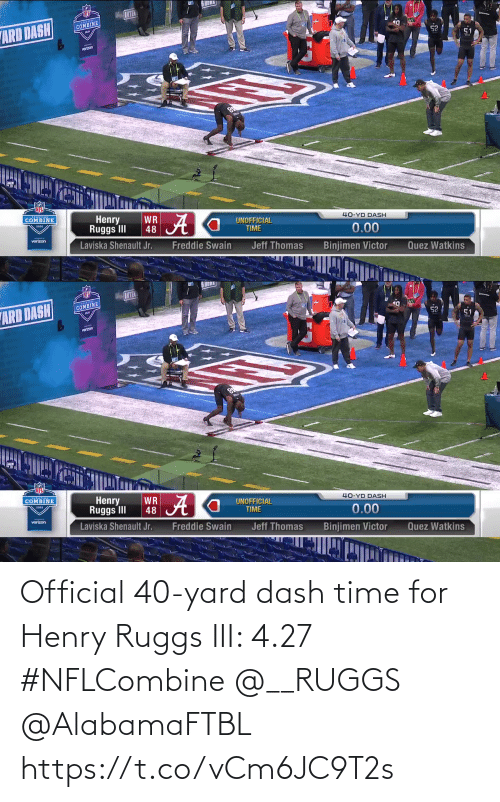 Iii: Official 40-yard dash time for Henry Ruggs III: 4.27  #NFLCombine @__RUGGS @AlabamaFTBL  https://t.co/vCm6JC9T2s