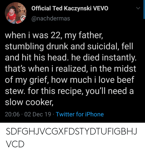Beef: Official Ted Kaczynski VEVO  @nachdermas  when i was 22, my father,  stumbling drunk and suicidal, fel  and hit his head. he died instantly.  that's when i realized, in the midst  of my grief, how much i love beef  stew. for this recipe, you'll need a  slow cooker,  20:06 02 Dec 19 Twitter for iPhone SDFGHJVCGXFDSTYDTUFIGBHJVCD