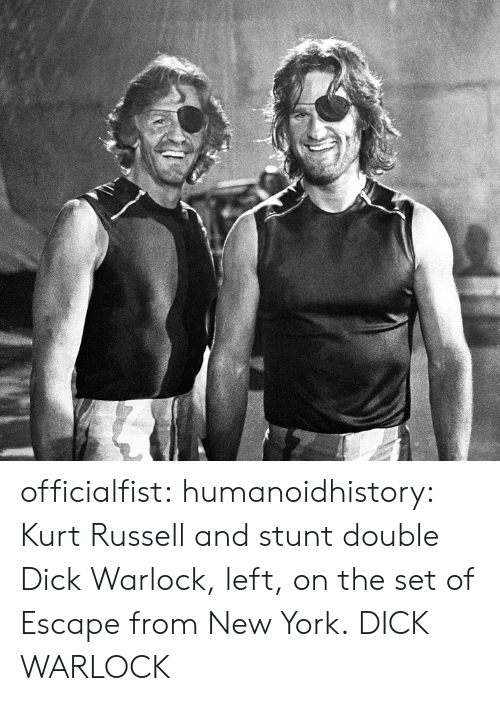 stunt: officialfist: humanoidhistory: Kurt Russell and stunt double Dick Warlock, left, on the set of Escape from New York.  DICK WARLOCK