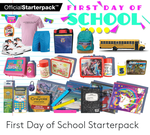 Barbie, Notebook, and Reebok: OfficialStarterpack FiRST DAY OF  TM  SCHOOL  HYPERCOLOR  METAMORPHIC-COLOR-SYSTEM  100%FrE  Dep  pum  Wiz  ebok  cebok  ARORT  OKLAHOMA CITY PUBLIC SCHOOLS  2538  umbro  TRANS  FRMENE  Strawbenny Shortcake  COOL  TiMes  GHCE  ranidf  TRAIH GES  FOIS  A REALAMERICAN HERO  Barbie  OCRS  wberry Sh  GIJOE  THERMOS  Noddin  Trapper  Keeper  Keen  NOTEBOOK  SOLAR ITTLE PROFESSOR  Master  NOT  TEXAS INSTRLMENTS  NOTEBOO  100  53 18008  100%  ICAN  CEDAR DCO  Mead  COMPOSITION  64  Crayola  100 sheets 200 pages  9% x 7%in /24.7 x 19.0 cm  wide ruled  TICONDEROGA  CRAYON  Bantex  The World's  BEST PENCIL  6T N 10 1 12 13 14 13 16 17 18 19 20 21 22 23 2i 25 26 21 25. 29 39  Different Brilliant Colors  Start  10 11 12 13 14 15 16 17 18 19 20 21 22 23 24 25 26 27 28 29 30  NON-TOXIC  a  24  BUILT-IN  SHARPENER  HB  3 56 s  Prem  CONTENTS: 64 CRAYONS  EACH 3% IN X6 IN.  PEFC  Bantex  Reebok  EEEEE E First Day of School Starterpack