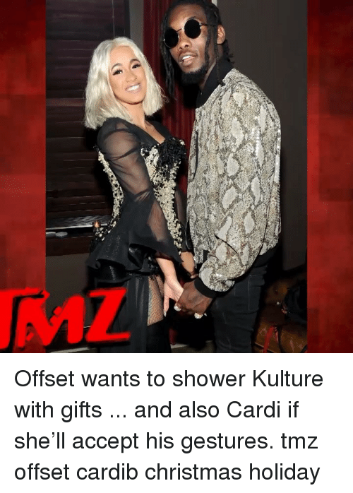Christmas, Memes, and Shower: Offset wants to shower Kulture with gifts ... and also Cardi if she'll accept his gestures. tmz offset cardib christmas holiday