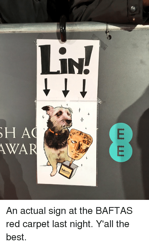 Memes, 🤖, and Carpet: OH AG  AWAR An actual sign at the BAFTAS red carpet last night. Y'all the best.