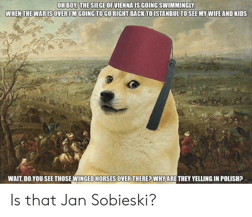 My Wife and Kids, History, and Kids: OH BOY, THESIEGEOFVIENNA IS GOING SWIMMINGLY  WHEN THE WARISOVERUM GOING TOGORIGHT BACK TOISTANBULTO SEE MY WIFE AND KIDS  WAIT, DO YOU SEE THOSE WINGED HORSESOVER THEREPWHYARE THEY YELLING IN POLISH? Is that Jan Sobieski?
