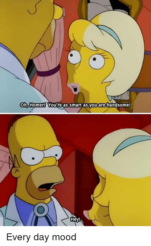 Mood, Dank Memes, and Homer: Oh, Homer  You're as smart as you are handsomel  Hey Every day mood