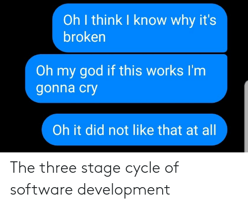 God, Oh My God, and Software: Oh I think I know why it's  broken  Oh my god if this works I'm  gonna cry  Oh it did not like that at all The three stage cycle of software development
