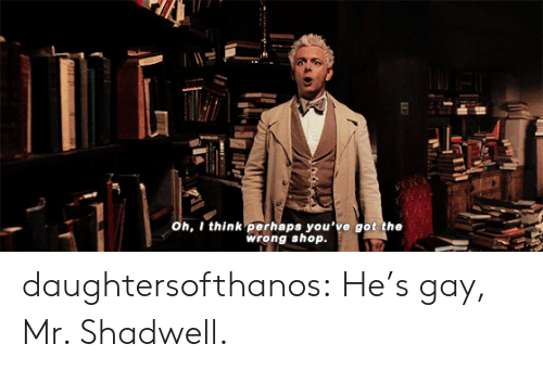 Target, Tumblr, and Blog: oh, I think perhaps you've got the  wrong shop. daughtersofthanos: He's gay, Mr. Shadwell.