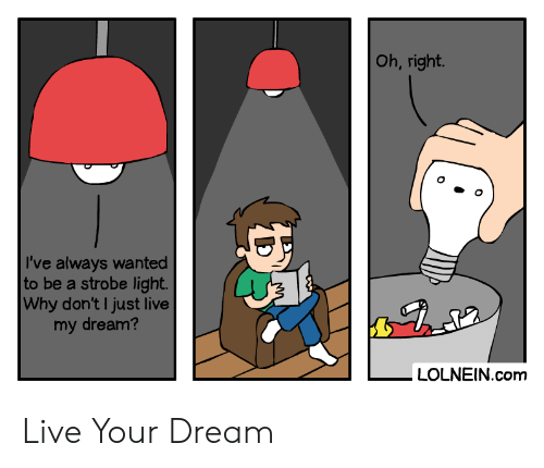 Live, Com, and Wanted: Oh, right.  I've always wanted  to be a strobe light.  Why don't I just live  my dream?  LOLNEIN.com  DS Live Your Dream
