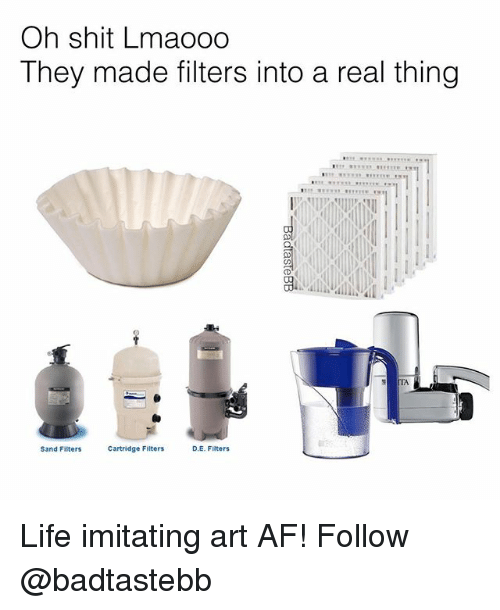 sands: Oh shit Lmaooo  They made filters into a real thing  TA  Sand Filters  Cartridge Filters  D.E. Filters Life imitating art AF! Follow @badtastebb