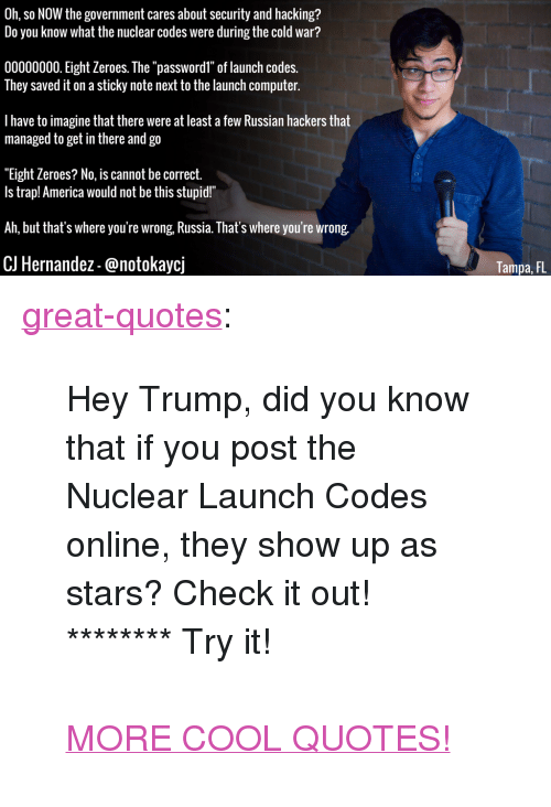 """nuclear-launch-codes: Oh, so NOW the government cares about security and hacking?  Do you know what the nuclear codes were during the cold war?  00000000. Eight Zeroes. The """"passwordl"""" of launch codes.  They saved it on a sticky note next to the launch computer.  I have to imagine that there were at least a few Russian hackers that  managed to get in there and go  """"Eight Zeroes? No, is cannot be correct.  Is trap! America would not be this stupid!""""  Ah, but that's where you're wrong, Russia. That's where you're wrong.  CJ Hernandez-@notokaycj  Tampa, FL <p><a href=""""http://great-quotes.tumblr.com/post/155437329097/hey-trump-did-you-know-that-if-you-post-the"""" class=""""tumblr_blog"""">great-quotes</a>:</p>  <blockquote><p>Hey Trump, did you know that if you post the Nuclear Launch Codes online, they show up as stars? Check it out! ******** Try it!<br/><br/><a href=""""http://cool-quotes.net/"""">MORE COOL QUOTES!</a></p></blockquote>"""