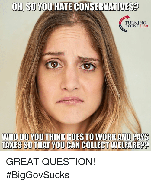 Memes, Taxes, and 🤖: OH, SO YOU HATE CONSERVATIVES  TURNING  POINT USA  WHO  DO YOU THINK GOES TO WORKAND PAYS  TAXES SO THAT YOU CAN  COLLECT WELFARE GREAT QUESTION! #BigGovSucks