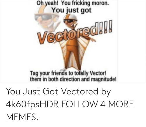 Fricking: Oh yeah! You fricking moron.  You just got  Vectored!!!  Tag your friends to totally Vector!  them in both direction and magnitude! You Just Got Vectored by 4k60fpsHDR FOLLOW 4 MORE MEMES.