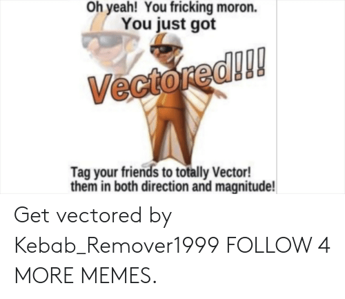 Fricking: Oh yeah! You fricking moron.  You just got  Vectored!!!  Tag your friends to totally Vector!  them in both direction and magnitude! Get vectored by Kebab_Remover1999 FOLLOW 4 MORE MEMES.