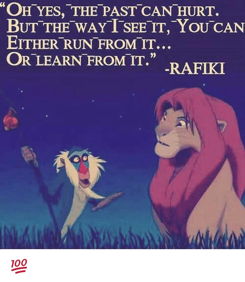 """memes: """"OH YES, THE PAST CAN HURT.  BUT THE WAY T SEE TT, YOU CAN  EITHER RUN FROM IT...  OR LEARN FROM IT.""""  RAFIKI 💯"""