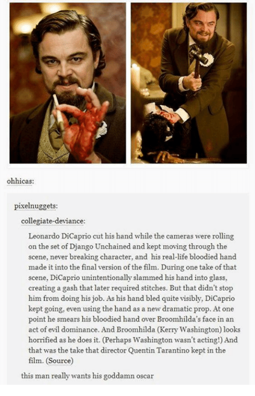 Django, Django Unchained, and Doe: ohhicas  pixelnuggets  collegiate-deviance  Leonardo DiCaprio cut his hand while the cameras were rolling  on the set of Django Unchained and kept moving through the  scene, never breaking character, and his real-life bloodied hand  made it into the final version of the film. During one take of that  scene, DiCaprio unintentionally slammed his hand into glass,  creating a gash that later required stitches. But that didn't stop  him from doing his job. As his hand bled quite visibly, DiCaprio  kept going, even using the hand as a new dramatic prop. At one  point he smears his bloodied hand over Broomhilda's face in an  act of evil dominance. And Broomhilda (Kerry Washington) looks  horrified as he does it. (Perhaps Washingt  wasn't acting!) And  on that was the take that director Quentin Tarantino kept in the  film. (Source)  this man really wants his goddamn oscar