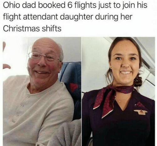 Join: Ohio dad booked 6 flights just to join his  flight attendant daughter during her  Christmas shifts