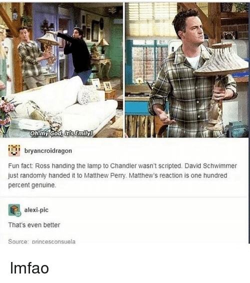 David Schwimmer, Matthew Perry, and Memes: ohmyGodb itsEmily  bryancroidragon  Fun fact: Ross handing the lamp to Chandler wasn't scripted. David Schwimmer  just randomly handed it to Matthew Perry. Matthew's reaction is one hundred  percent genuine.  alexi-pic  That's even better  Source: princesconsuela lmfao