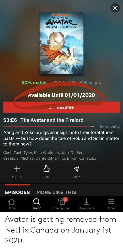 Netflix, Soon..., and The Last Airbender: oieuelod  降去神通  AVATAR  THE LAST AIRBENDER  3 Seasons  90% match  Available Until 01/01/2020  Resume  S3:E6 The Avatar and the Firelord  1m remaining  Aang and Zuko are given insight into their forefathers'  pasts -- but how does the tale of Roku and Sozin matter  to them now?  Cast: Zach Tyler, Mae Whitman, Jack De Sena  Creators: Michael Dante DiMartino, Bryan Konietzko  Share  My List  Rate  EPISODES  MORE LIKE THIS  Search  Coming Soon  Downloads  More  Home Avatar is getting removed from Netflix Canada on January 1st 2020.