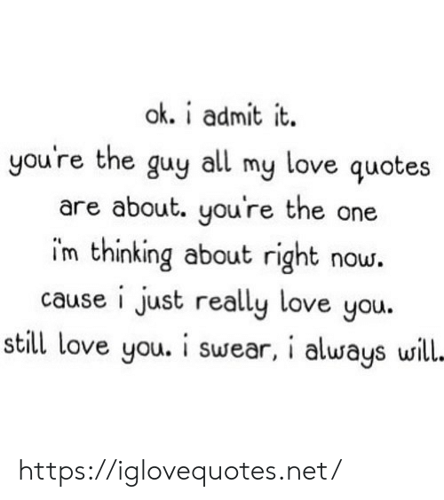 admit it: ok. i admit it  you're the guy all my love quotes  are about. you're the one  im thinking about right now.  cause i just really love you.  still love you. i swear, i always will- https://iglovequotes.net/
