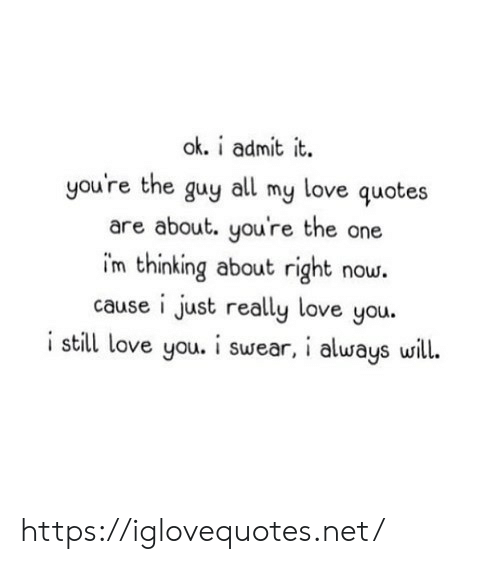 admit it: ok. i admit it.  you're the guy  love quotes  all  my  are about. you're the one  im thinking about right now.  cause i just really love you.  i still love you. i swear, i always will. https://iglovequotes.net/