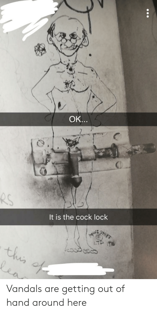 Lock, Cock, and Hand: OK  It is the cock lock  4 Vandals are getting out of hand around here