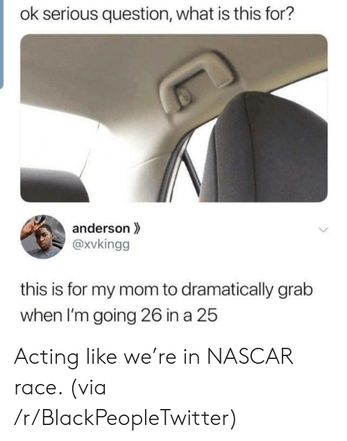 Blackpeopletwitter, Nascar, and What Is: ok serious question, what is this for?  anderson  @xvkingg  this is for my mom to dramatically grab  when I'm going 26 in a 25 Acting like we're in NASCAR race. (via /r/BlackPeopleTwitter)