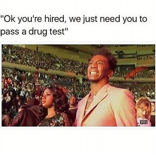 """Passe: """"Ok you're hired, we just need you to  pass a drug test"""""""