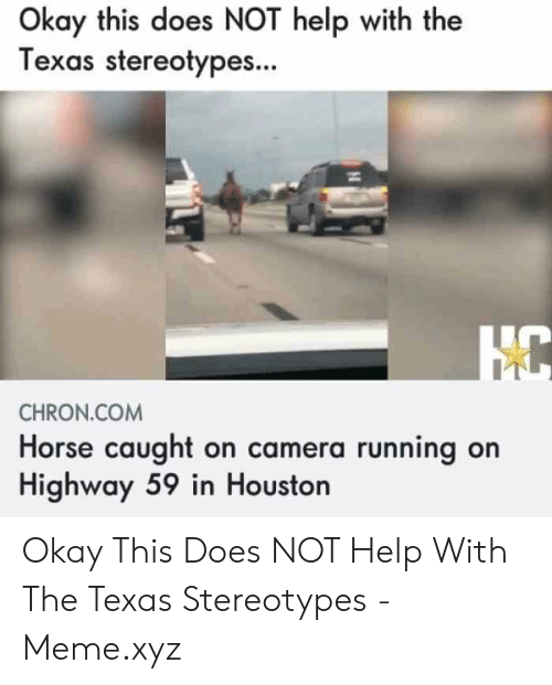 Texas Meme: Okay this does NOT help with the  Texas stereotypes...  CHRON.COM  Horse caught on camera running on  Highway 59 in Houston Okay This Does NOT Help With The Texas Stereotypes - Meme.xyz