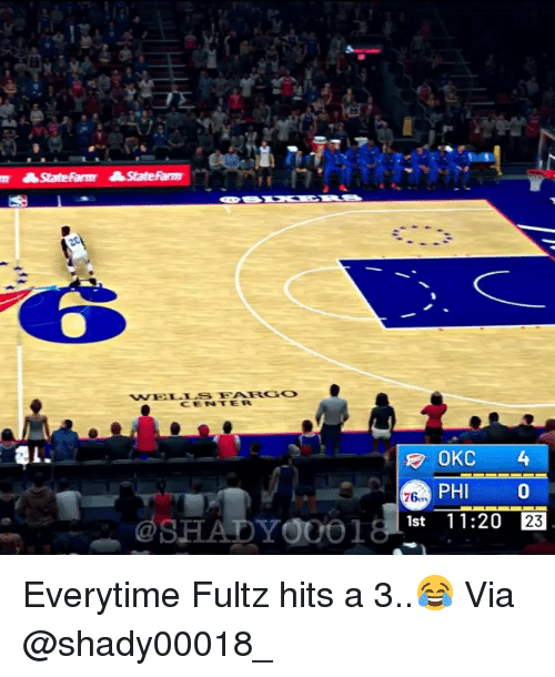 Basketball, Nba, and Sports: OKC 4  PHI0  76-  1st 11:20  23 Everytime Fultz hits a 3..😂 Via @shady00018_