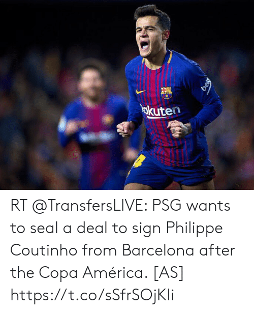 America, Barcelona, and Soccer: okuten  bek RT @TransfersLlVE: PSG wants to seal a deal to sign Philippe Coutinho from Barcelona after the Copa América. [AS] https://t.co/sSfrSOjKIi