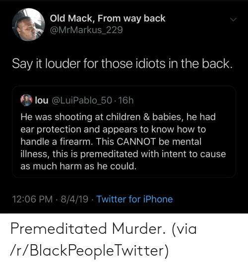 Blackpeopletwitter, Children, and Iphone: Old Mack, From way back  @MrMarkus_229  Say it louder for those idiots in the back.  lou @LuiPablo_50-16h  He was shooting at children & babies, he had  ear protection and appears to know how to  handle a firearm. This CANNOT be mental  illness, this is premeditated with intent to cause  as much harm as he could.  12:06 PM 8/4/19 Twitter for iPhone Premeditated Murder. (via /r/BlackPeopleTwitter)