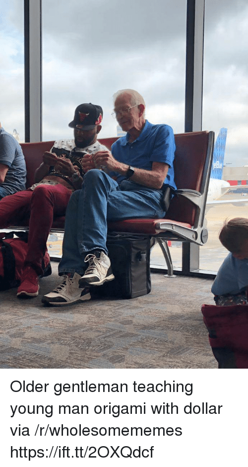 Origami: Older gentleman teaching young man origami with dollar via /r/wholesomememes https://ift.tt/2OXQdcf