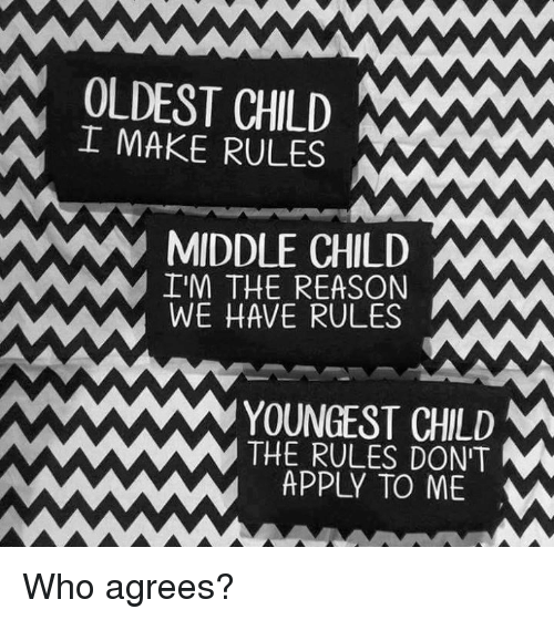 Dank, Reason, and 🤖: OLDEST CHILD MANAW  I MAKE RULES  MIDDLE CHILD  IM THE REASON  WE HAVE RULES  YOUNGEST CHILD  M  THE RULES DON'T  M  APPLY TO ME  w Who agrees?